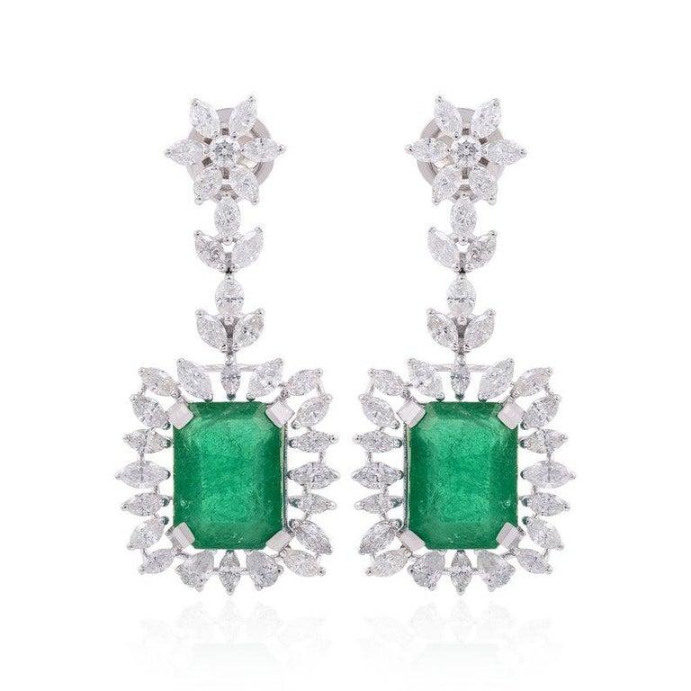 Mixed Cut 9.26 Carat Emerald Diamond 18 Karat White Gold Earrings For Sale