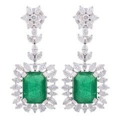 9.26 Carat Emerald Diamond 18 Karat White Gold Earrings