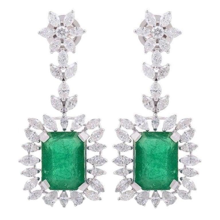 9.26 Carat Emerald Diamond 18 Karat White Gold Earrings For Sale