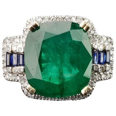 9.27 Carat Cushion Shaped Emerald and Sapphire Cocktail Ring