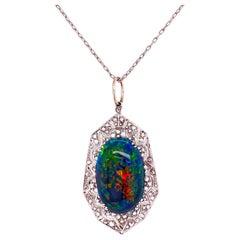 9.28 Carat Black Opal and Diamond Platinum Pendant Necklace Estate Fine Jewelry