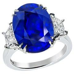 9.29 Carat Sapphire 1.20 Carat Diamond Engagement Ring