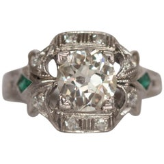 .93 Carat Art Deco Diamond Platinum Engagement Ring
