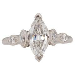 .93 Carat Art Deco Diamond Platinum Engagement Ring
