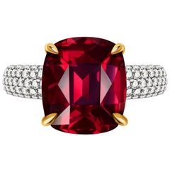 9.3 Carat Burgundy Rhodolite Garnet Diamond 14 Karat White Gold Ring
