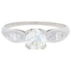 .93 Carat European Cut Diamond Vintage Engagement Ring, Platinum Milgrain GIA