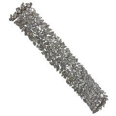 93 Carat Marquise Shaped Cluster Diamond Cuff Bracelet