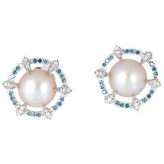 9.3 Carat Pearl Diamond Stud Earrings