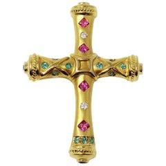 .93 Carat Sapphire, Diamond and Tourmaline Etruscan Style Cross Pendant / Brooch
