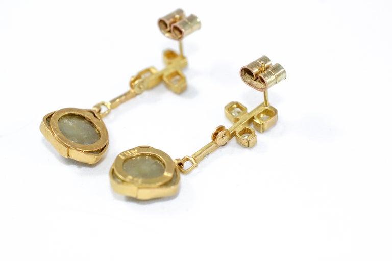 Women's 9.3 Carat Yellow Diamonds 21-22k Gold Chandelier Drop Earrings Wedding Jewelry For Sale
