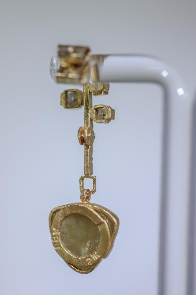 9.3 Carat Yellow Diamonds 21-22k Gold Chandelier Drop Earrings Wedding Jewelry For Sale 2