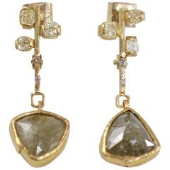 9.3 Carat Yellow Diamonds 21-22k Gold Chandelier Drop Earrings Wedding Jewelry