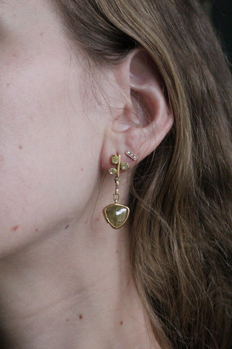 9.3 Carat Yellow Diamonds 21-22k Gold Chandelier Drop Earrings Wedding Jewelry For Sale 5