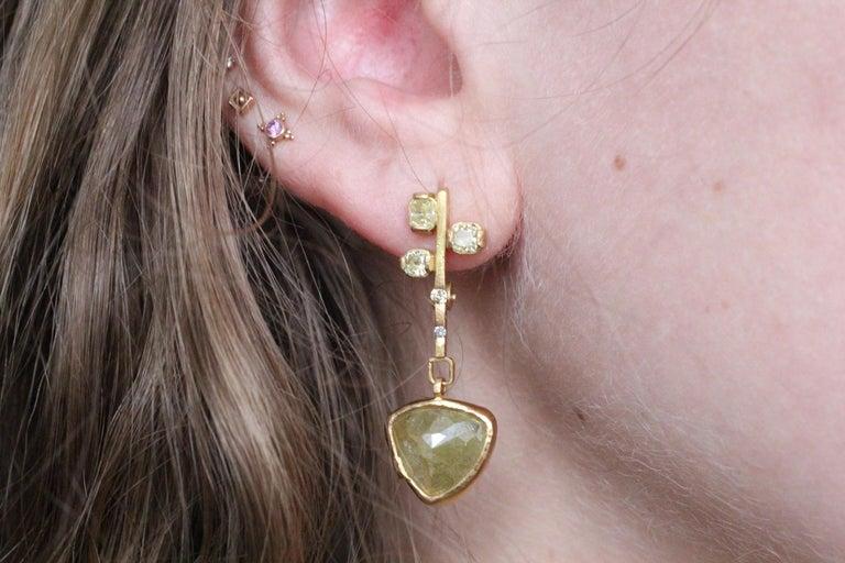 9.3 Carat Yellow Diamonds 21-22k Gold Chandelier Drop Earrings Wedding Jewelry For Sale 4
