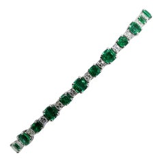 9.30 Carat Cushion Emerald and White Diamond Tennis Bracelet