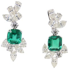 9.30 Carat Emerald and Diamond 18 Karat Gold Earring