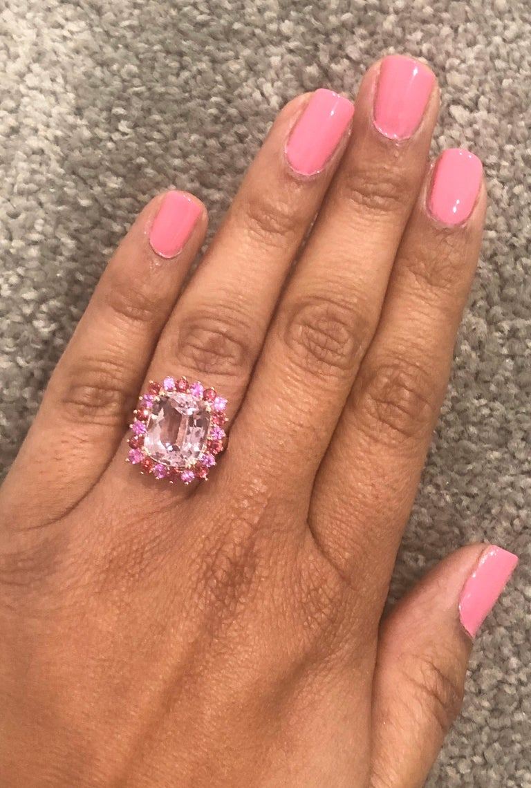 9.30 Carat Kunzite Pink Sapphire 14 Karat Rose Gold Cocktail Ring In New Condition For Sale In San Dimas, CA