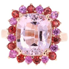 9.30 Carat Kunzite Pink Sapphire 14 Karat Rose Gold Cocktail Ring