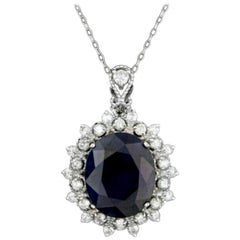 9.30 Carat Natural Sapphire and Diamond 14 Karat Solid White Gold Necklace