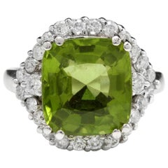 9.30 Carat Natural Very Nice Looking Peridot and Diamond 14K Solid Gold Ring