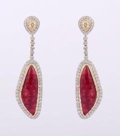 9.30 Carat Ruby Diamond 18 Karat Gold Abstract Earrings