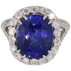 9.31 Carat Oval Sapphire and Diamond Cocktail Ring