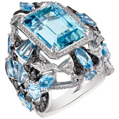 9.328 Carat Aquamarine with Black and White Diamonds Cocktail Ring in 18K Gold