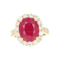 9.33 Carat Ruby Diamond 18 Karat Yellow Gold Engagement Ring