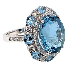 9.34 Carat Oval Shaped Aquamarine Ring in 18 Karat White Gold with Diamonds
