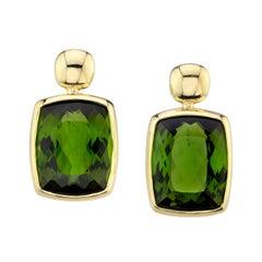 9.34 Carat Total Green Tourmaline Cushion Yellow Gold Bezel Post Drop Earrings