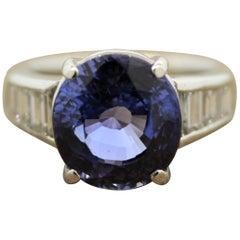9.35 Carat Sapphire Diamond Platinum Ring, GIA Certified No-Heat