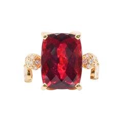9.36 Carat Rubellite Tourmaline and Diamond Cocktail Ring Set in 18 Karat Gold
