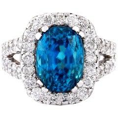 9.37 Carat Zircon 18 Karat Solid White Gold Diamond Ring