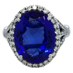 9.38 Carat Oval Tanzanite Split Shank Pave Set Engagement Ring with Halo