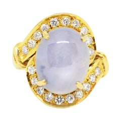 9.39 Carat Cabochon Star Sapphire and Diamond 18 Carat Yellow Gold Ring