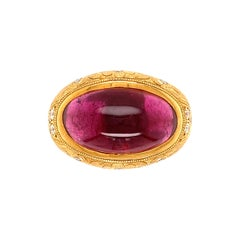 9.39 Carat Sugarloaf Rubelite Tourmaline and Diamond Ring Estate Fine Jewelry