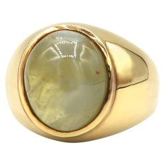 9.4 Carat Cabochon Cat's Eye Plain Raised Edge Unisex Men's 18k Gold Ring