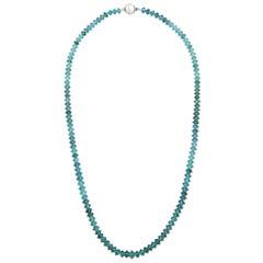 94 Carat Deep Blue Tourmaline Bead Necklace 14 Karat White Gold Natalie Barney