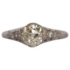 .94 Carat Edwardian Diamond Platinum Engagement Ring