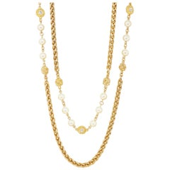 "94"" Heavy Gilt Braided Chain Necklace with Crystals & Pearls by Chanel, 1980s"