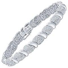 9.40 Carat Fine Diamond Bracelet in 18 Karat White Gold