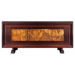 1940´s Sideboard with 3 Doors, Mahogany and Carved Maple, Colonial Work, France