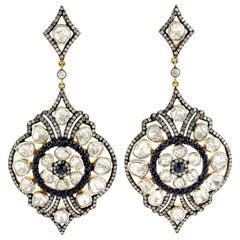 9.41 Rose Cut Diamond Sapphire Earrings