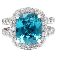 9.42 Carat Zircon 18 Karat Solid White Gold Diamond Ring