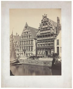Architectural Images, Canal and Houses in Belgium, Europe, 1860s