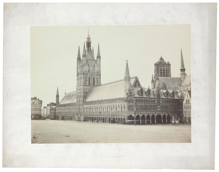 Bisson Frères Black and White Photograph - Architectural Images, Palace with clock tower, Europe, 1860s