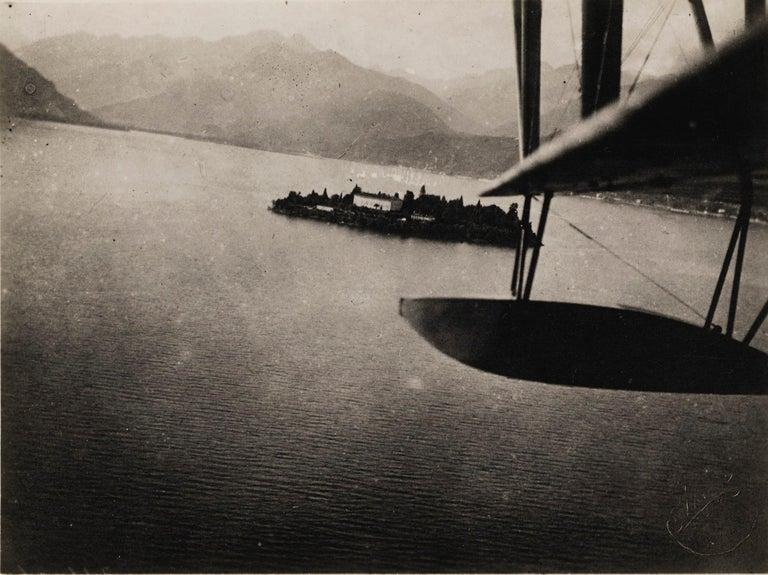 Fedele Azari Black and White Photograph - Aerial View of Lake Maggiore, 1925