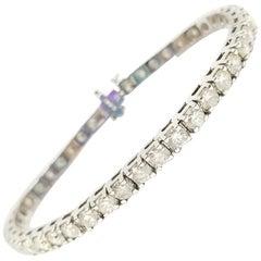 9.43 Carat Round Brilliant Cut Diamond Tennis Bracelet 14 Karat White Gold