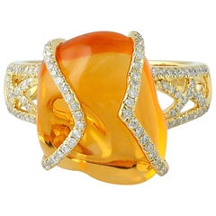 9.44 Carat Fire Opal 18 Karat Gold Diamond Ring