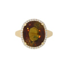 9.44 Carat Tourmaline and White Diamond Ring
